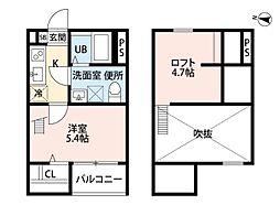 愛知県名古屋市北区辻町2丁目の賃貸アパートの間取り
