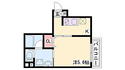 コウリュウマンション 8階1Kの間取り