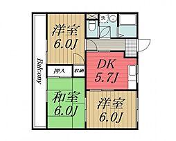 千葉県四街道市鹿渡の賃貸マンションの間取り