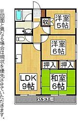 福岡県直方市知古2丁目の賃貸アパートの間取り