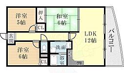 阪急神戸本線 西宮北口駅 徒歩20分の賃貸マンション 2階3LDKの間取り