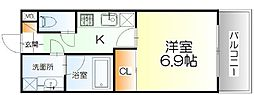 JR仙山線 東北福祉大前駅 徒歩19分の賃貸マンション 2階1Kの間取り