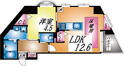 兵庫県神戸市灘区倉石通1丁目の賃貸マンションの間取り