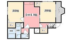 兵庫県姫路市野里大和町4丁目の賃貸アパートの間取り
