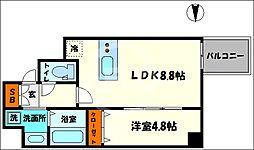 プレサンス北浜レガーロ 7階1LDKの間取り