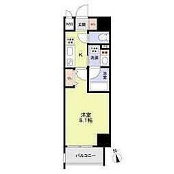 名古屋市営鶴舞線 丸の内駅 徒歩8分の賃貸マンション 4階1Kの間取り