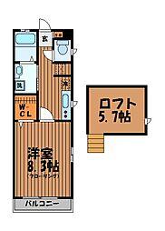 東京都三鷹市下連雀7丁目の賃貸アパートの間取り