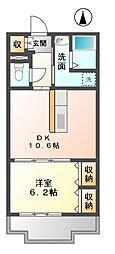 愛知県稲沢市長束町カキ田の賃貸マンションの間取り