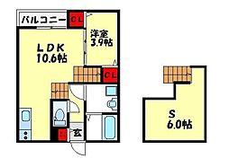 福岡市地下鉄空港線 福岡空港駅 徒歩15分の賃貸アパート 1階1SLDKの間取り