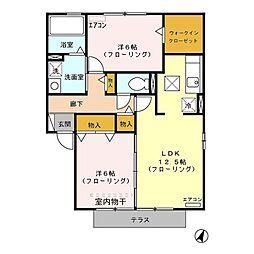 埼玉県さいたま市中央区円阿弥2丁目の賃貸アパートの間取り