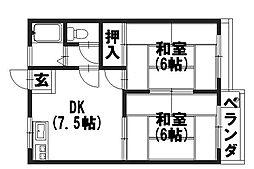 タウニィ坂[202号室]の間取り