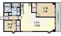 コスモハイツ 2階2LDKの間取り