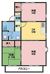 神奈川県横浜市鶴見区矢向3丁目の賃貸アパートの間取り