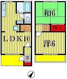 [テラスハウス] 千葉県松戸市上本郷 の賃貸【/】の間取り