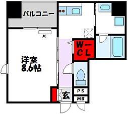 D-room gracious平尾 5階1Kの間取り