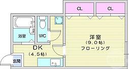 JR東北本線 館腰駅 徒歩5分の賃貸アパート 1階1DKの間取り