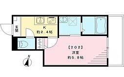 パルーデ新桜台 2階1Kの間取り