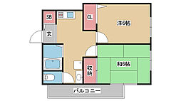 兵庫県神戸市灘区篠原南町5丁目の賃貸アパートの間取り