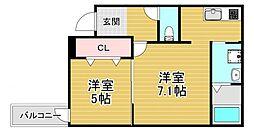 フジパレス若江岩田ノース 3階1LDKの間取り