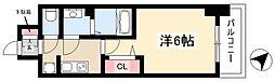 アステリ鶴舞トゥリア 13階1Kの間取り