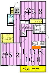 千葉県野田市光葉町2丁目の賃貸アパートの間取り