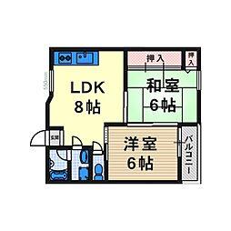 大阪府高槻市天神町2丁目の賃貸アパートの間取り