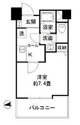 東京メトロ丸ノ内線 新宿御苑前駅 徒歩6分の賃貸マンション 6階1Kの間取り