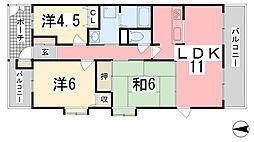 兵庫県姫路市南新在家の賃貸マンションの間取り