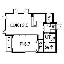 プリムール高蔵 4階1LDKの間取り