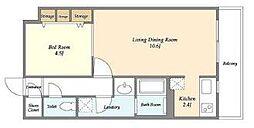 東京メトロ日比谷線 築地駅 徒歩10分の賃貸マンション 5階1LDKの間取り