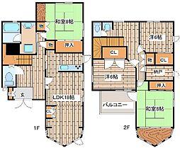 JR東海道・山陽本線 六甲道駅 徒歩12分の賃貸一戸建て 2階4LDKの間取り