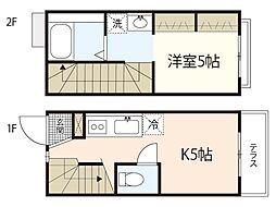 広島電鉄宮島線 草津駅 徒歩5分の賃貸アパート 1階1Kの間取り