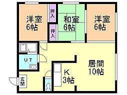松浦マンション3 2階3LDKの間取り