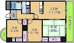 大阪府大阪市東住吉区北田辺6丁目の賃貸マンションの間取り