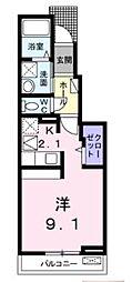 高松琴平電気鉄道志度線 沖松島駅 徒歩3分の賃貸アパート 1階1Kの間取り