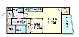 SERENiTE福島scelto 9階1LDKの間取り
