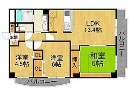 イーストハイム3[3階]の間取り