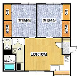 エスポアールマンション(西三輪) 1階2LDKの間取り