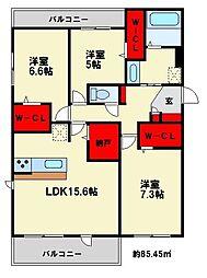 福岡県福岡市博多区麦野6丁目の賃貸アパートの間取り