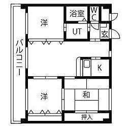 アイコート[3階]の間取り