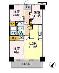 東京都東久留米市本町1丁目の賃貸マンションの間取り