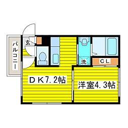 札幌市営東豊線 北13条東駅 徒歩2分の賃貸マンション 3階1DKの間取り