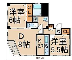東京都羽村市小作台1丁目の賃貸アパートの間取り
