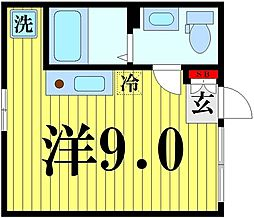 東京メトロ半蔵門線 押上駅 徒歩10分の賃貸マンション 4階ワンルームの間取り