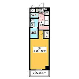メリーファンタジー 4階1Kの間取り