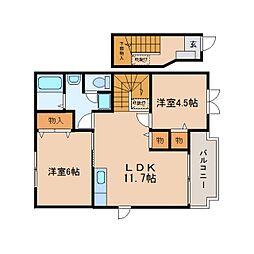 静岡県藤枝市水守の賃貸アパートの間取り