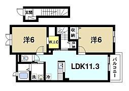 奈良県天理市柳本町の賃貸アパートの間取り