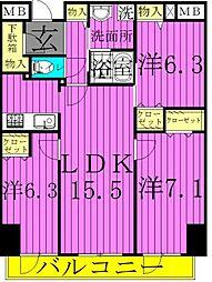 ロイヤルKJ[8階]の間取り