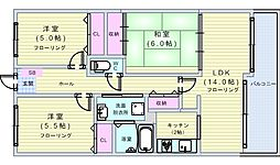 アコール隆豊[6階]の間取り