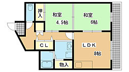 兵庫県神戸市兵庫区石井町8丁目の賃貸マンションの間取り